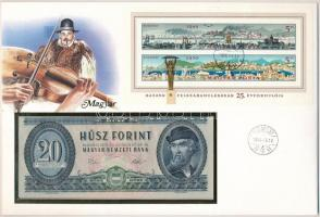 1975. 20Ft Hazánk felszabadulásának 25. évfordulójára borítékban alkalmi bélyegzős blokkal T:I