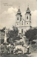 Tihany, római katolikus templom, ökrös szekér, feszület, Balázsovich Gyula kiadása (EK)