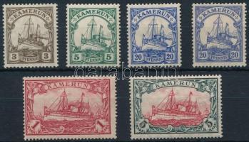 Kamerun 1905 Császári jacht 6 klf érték Mi 20, 21 I, 23 Ia, 23 IIc, 24 IA, 25 IIA