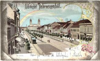 Debrecen, Fő utca, villamos, Szabó István kiadása, floral Art Nouveau litho (EK)