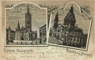 1899 Budapest, Mátyás templom, Bazilika, floral litho (EK)
