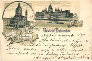 1899 Budapest, Bazilika, Parlament, kiadja Martos Adolf, hátoldalon Rettegi Unghváry család pecsétje, floral litho