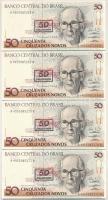 Brazília 1990. 50C 50 Cruzeiros felülbélyegzéssel (4x) sorszámkövetők + Tádzsikisztán 1999. (2000.) 20D (3x) sorszámkövetők T:I Brazil 1990. 50 Cruzados with 50 Cruzeiros overprint (4x) sequential serials + Tajikistan 1999. (2000.) 20 Diram (3x) sequential serials C:UNC Krause 223; 12