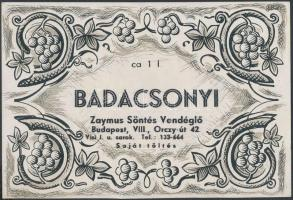 Badacsonyi Zaymus Söntés Vendéglő boroscímkéje