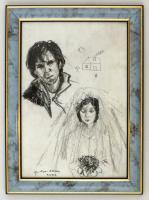 Gubcsi Attila (1954-): Eskövői álmok. Ceruza, papír, üvegezett keretben, 29×20 cm