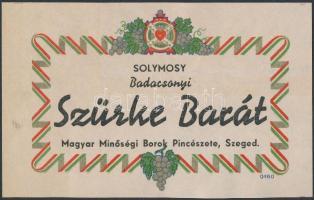Solymosy Badacsonyi Szürke Barát Magyar Minőségi Borok Pincészete Szeged italcímke