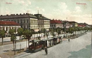 Debrecen, Fő utca, villamos, takarékpénztár, Horovitz Zsigmond kiadása (EK)