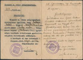 1945 Kerékpár tartására vonatkozó magyar - orosz nyelvű, kispesti polgármesteri igazolás