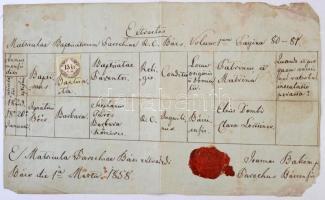 Bács 1858 születési anyakönyvi kivonat 15kr C.M. okmánybélyeggel