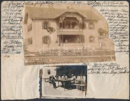 1902 Stubnya(fürdő), Életképek, fotók papírra ragasztva, leírással, 3 db, 6x9 és 13x24 cm