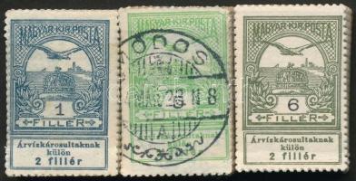 1913 Árvíz (I) falcos 1f + 6f, pecsételt 5f bündlikben (16.000)