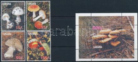 Tanzánia 1998 Gomba 4 klf bélyeg + 1 blokk