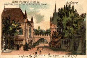 Budapest XIV. Városliget, Ezredéves országos kiállítás, történelmi főcsoport kapuja, Gustav Ertel litho (EK)