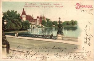 Budapest XIV. Városliget, Ezredéves országos kiállítás, történelmi főcsoport, tó, litho (EK)