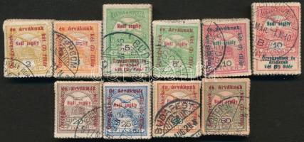 1914 Hadisegély (I) 5f, 10f + 1915 Hadisegély (II) 8 klf érték bündlikben (37.000)