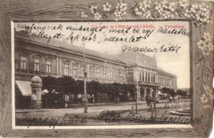 Nyíregyháza, városháza, Nagy Gyula raktára, floral díszített keret, Borbély Sámuel kiadása (b)