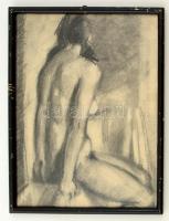 Herman jelzéssel: Női akt háttal. Ceruza, papír, üvegezett keretben, 35×27 cm