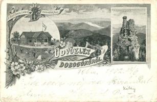Dobogókő, Báró Eötvös Loránd menedékház, Thirring szikla, látkép, floral Art Nouveau s: Feldbacher (EB)