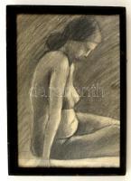 Barcsay jelzéssel: Női fél akt. Ceruza, papír, üvegezett keretben, 35×27 cm