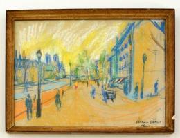 Diener jelzéssel: Utca részlet. Pasztell, papír, üvegezett keretben, 29×39 cm