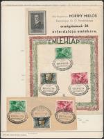 1940 IX. Filprok bélyegkiállítás emléklap Repülő alap sorral, alkalmi bélyegzéssel + Horthy Miklós emléklap + Horthy Miklós sor alkalmi bélyegzéssel