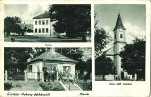 Bakonysárkány, vasútállomás, iskola, Római Katolikus templom (EK)