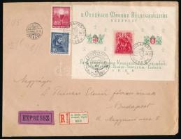 1938 Expressz ajánlott nagyalakú levél ORBÉK blokk + Eucharisztikus 16(+16)f, 20(+20)f bérmentesítéssel
