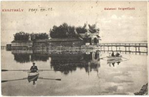 Keszthely, balatoni szigetfürdő, csónakázók, S. D. M. 2018. (EK)