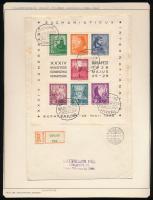 1938 Eucharisztikus blokk ajánlott futott levélen A SZENT JOBB ORSZÁGJÁRÁSA alkalmi bélyegzéssel