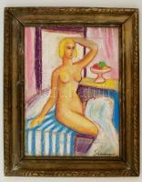Schönberger jelzéssel: Női fél akt. Pasztell, papír, keretben, 40×30 cm