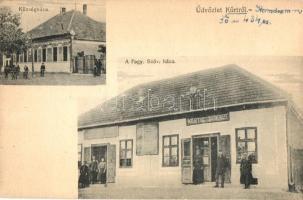 Kürt, Strekov; Községháza, fogy. szövetkezet üzletháza és kiadása / town hall, cooperative shop (EK)