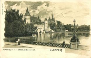 Budapest XIV. Városligeti tó, F. Videki litho (EK)