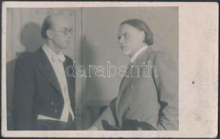 Laskó Emil(1911-1982) egyházi karnagy és Kodály Zoltán, fotó, hátoldalon Laskó Emil saját kezű aláírásával