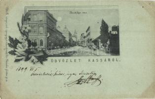 1899 Kassa, Kosice; Kossuth Lajos utca, üzletek, Vitéz A. kiadása / street, shops, floral (EK)