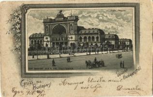 Budapest VII. Keleti pályaudvar, floral litho (vágott / cut)