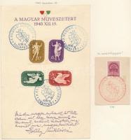 1939-1942 Emléklap összeállítás, benne Művész, Széchenyi és A Szent Jobb 5 db albumlapon
