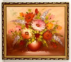 Olvashatatlan jelzéssel: Virágcsendélet. Olaj, vászon, sérült, keretben, 50×60 cm