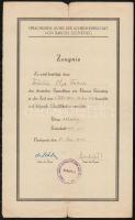 1943 Bp., A Baross Szövetség által meghirdetett német nyelvkurzus látogatásáról és sikeres elvégzéséről kiállított bizonyítvány
