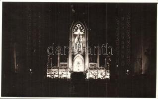 Kolozsvár, Cluj - 4 db RÉGI városképes képeslap fotó, Mátyás király tér és szobor, templom belső / 4 pre-1945 townview postcards, square, statue, church interior, photo