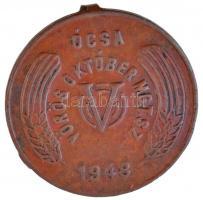 1948. Ócsa - Vörös Október MGTSZ fém jelvény + DN Cipőbolt Nemzeti Vállalat fém festett jelvény T:2,2- fülnyom