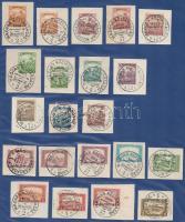 1918 Magyar Tanácsköztársaság kikiáltása 56 db kivágáson és 2 db levelezőlapon fekete és piros bélyegzésekkel, több budapesti hivatalból 4 db lapon mappában