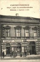 Debrecen, Egyház tér 2. Csáthy Ferencz könyv, zenemű és papírkereskedése, magyar és német kölcsönkönyvtár (b)