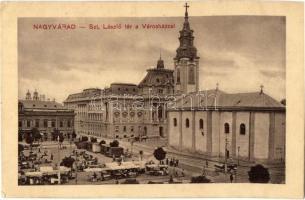 Nagyvárad, Oradea; Szent László tér, Városháza, piac, templom, gyógyszertár / city hall, market, church, pharmacy (EK)