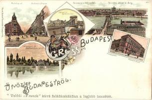 Budapest, Andrássy út, Lánchíd, Műegyetem, Franck kávé reklámmal, Kunstanstalt Rosenblatt floral, litho