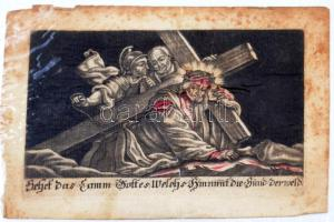 cca XVIII. sz: Antik, rézmetszetes szentkép / Ecthed holy card 14x10 cm