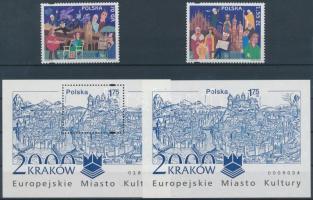 2000 Krakow Európa kulturális fővárosa sor Mi 3825-3826 + blokkpár Mi 140 A+B