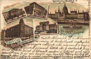 Budapest, Műegyetem, Központi pályaudvar, Országház, Nemzeti Múzeum és Színház, floral, litho (EK)