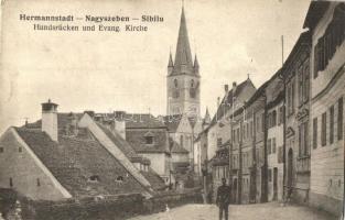 Nagyszeben, Hermannstadt, Sibiu; Hundrücken und Evang. Kirche / evangélikus templom, J. Bein kiadása / church (EK)