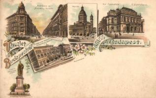 Budapest, Andrássy út, Bazilika, Operaház, Országos Minta rajziskola, Ottmar Zieher, floral, litho