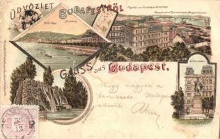 Budapest, Gellérthegy, Margitsziget, főgimnázium, Eötvös szobor, floral litho (r)